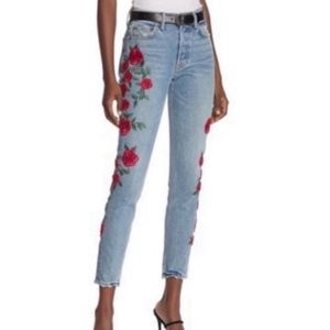 GRLFRND Karolina Embroidered Jeans High-waist NEw